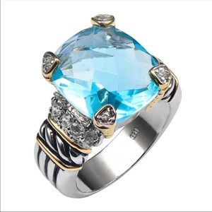 Jewelry - 🆕London Blue Topaz Sterling & Gold Noblesse Ring